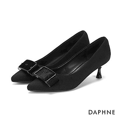 達芙妮DAPHNE 高跟鞋-復古絨面皮帶方釦高跟鞋-黑