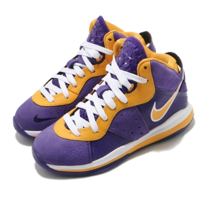 Nike 籃球鞋 LeBron VIII PS 運動 童鞋 明星款 避震 包覆 魔鬼氈 穿搭 小童 紫 黃 CT5114500
