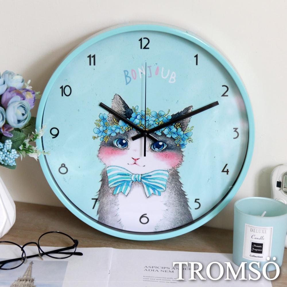 TROMSO花田森林靜音時鐘-藍花小貓