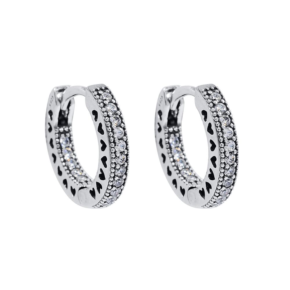 Pandora 潘朵拉 細圓環鑲鋯純銀垂墜耳環