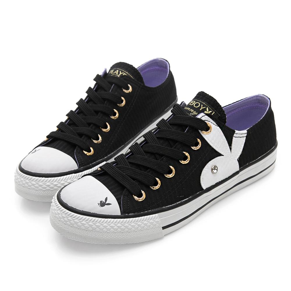 PLAYBOY女孩異想 條紋簡約時尚帆布鞋-黑