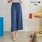 東京著衣 舒適好感清涼雪紡腰圍鬆緊附綁帶寬褲-S.M.L(共二色)