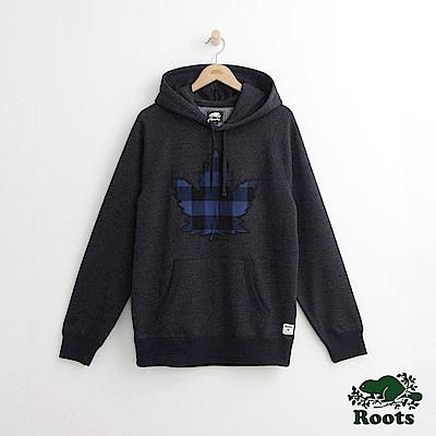 Roots 男裝-格紋楓葉連帽上衣-藍色