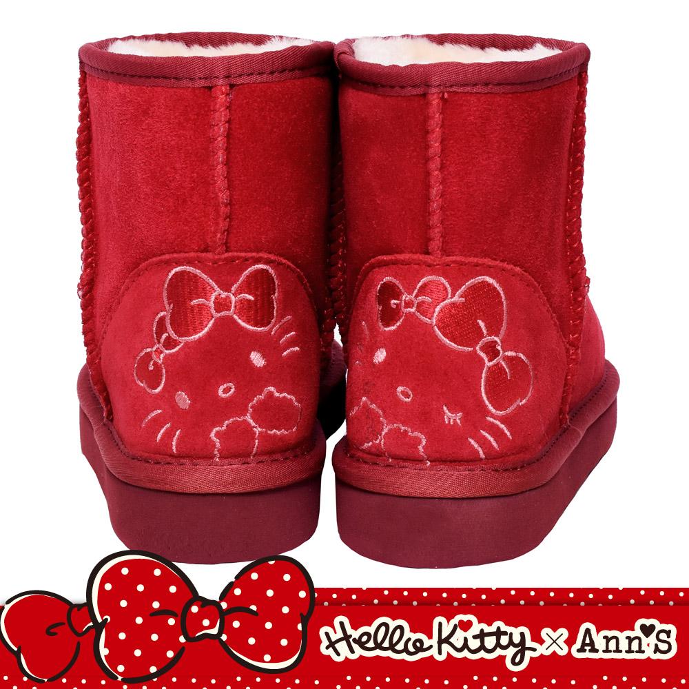 HELLO KITTY X Ann'S毛茸茸後跟刺繡超短筒真皮雪靴-紅