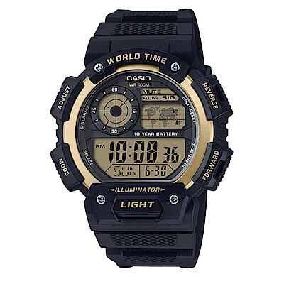 CASIO 十年電力飛機儀表板造型橡膠錶帶電子錶/AE- 1400 WH- 9 AVDF