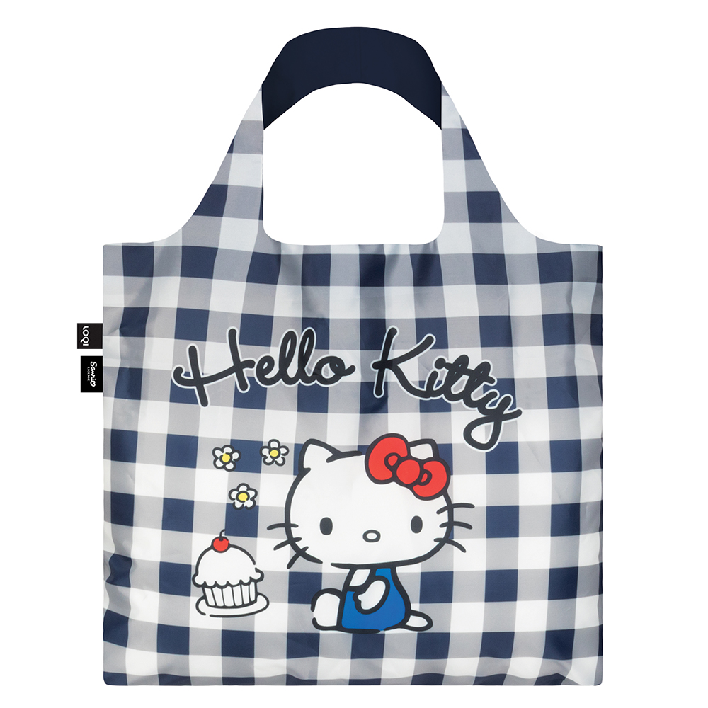 LOQI 購物袋-三麗鷗授權 (Hello Kitty 藍白格紋 KT14)