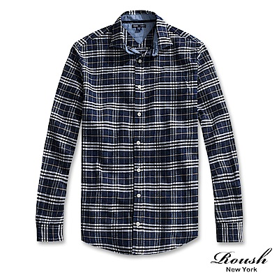 ROUSH 特殊門襟設計法蘭絨格紋襯衫(2色)