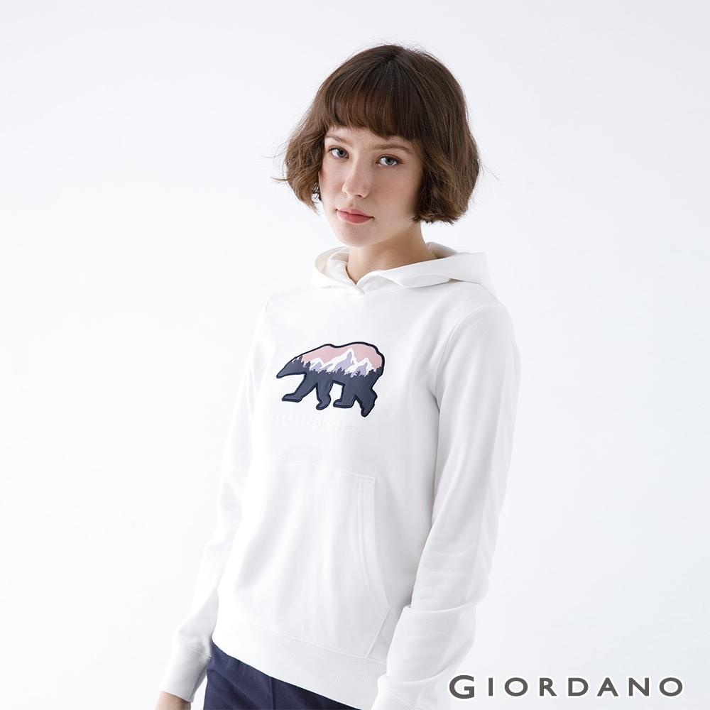 GIORDANO   女裝ADVENTURE連帽T恤 - 41 皎白