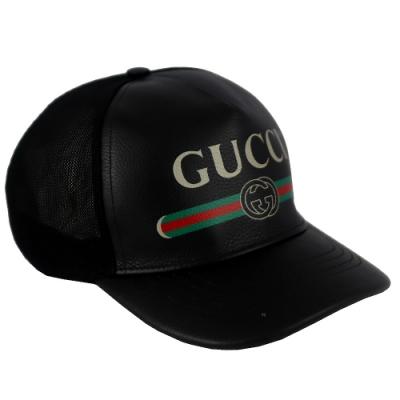 GUCCI Print 黑色皮革品牌標誌圖騰棒球帽