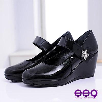 ee9 閃耀之星~厚底防水台瑪莉珍楔型高跟鞋~時尚黑