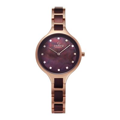 OBAKU 奢華水鑽珍珠母貝精緻腕錶-棕色x玫瑰金-V218LXVNSN