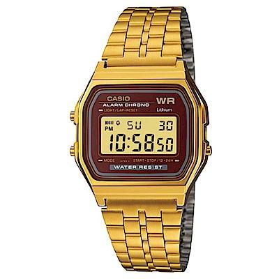 CASIO 城市經典超薄數位錶(A159WGEA-5)-金色x咖啡面/33.2mm