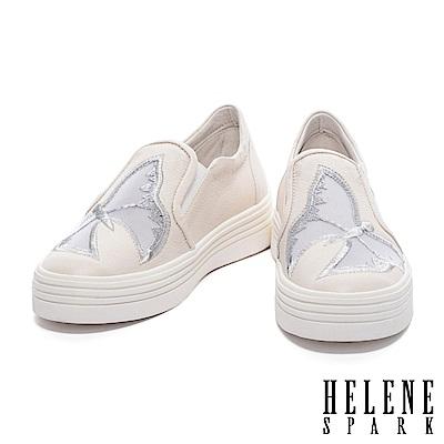 休閒鞋HELENE SPARK浪漫蝴蝶電繡造型紗網拼接牛皮厚底休閒鞋-米