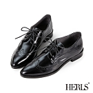 HERLS牛津鞋-全真皮翼紋沖孔尖頭德比鞋牛津鞋-黑色