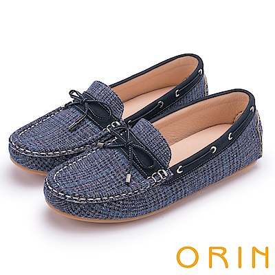 ORIN 樂活度假 個性格紋布面平底帆船鞋-藍色