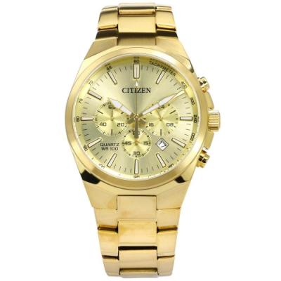 CITIZEN 礦石強化玻璃 三眼計時 日期 防水100米 不鏽鋼手錶-鍍金/40mm