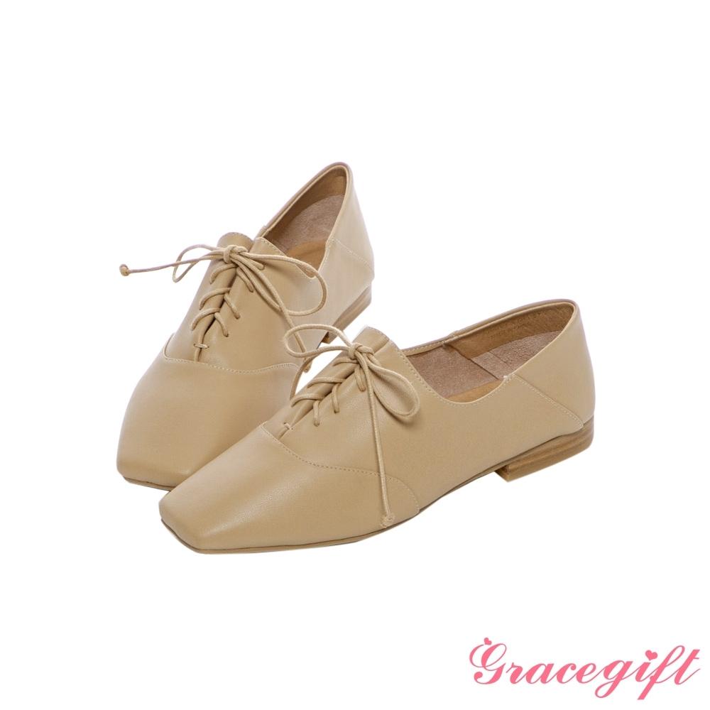 Grace gift X尖如-真皮拼接綁帶牛津鞋 深杏