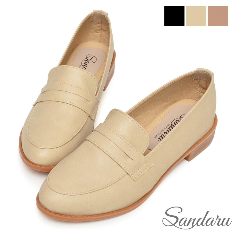 山打努SANDARU-紳士鞋 經典微尖頭低跟便仕樂福鞋-米