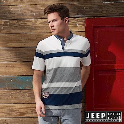 JEEP 簡約亨利領條紋短袖POLO衫-白色