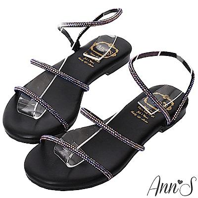 Ann'S海洋之星-漸層幻彩鑽石平底涼鞋-黑