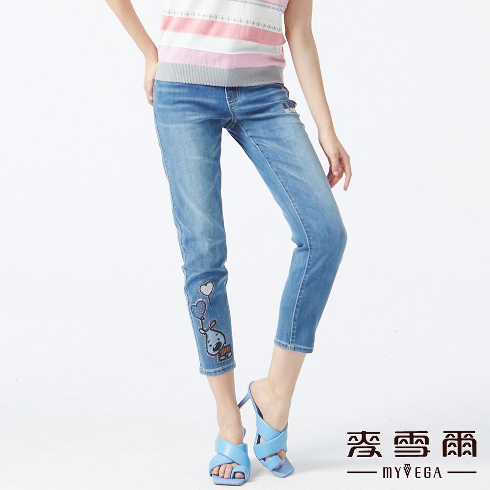 MYVEGA麥雪爾 高含棉Q版動物刺繡九分牛仔褲-藍