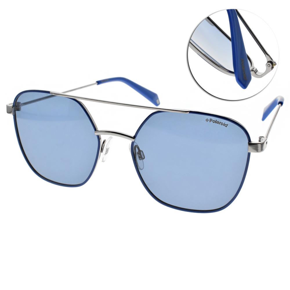 Polaroid 偏光太陽眼鏡 潮流飛行款/藍銀 #PLD 6058S PJPC3