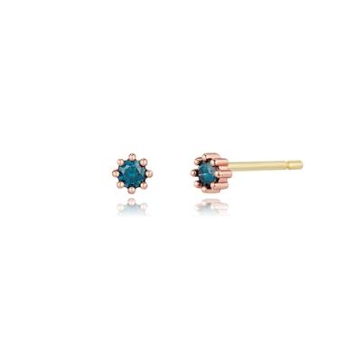 STONEHENGE 斯通亨奇 蜜鑽系列14K玫瑰金藍色鑽石耳飾