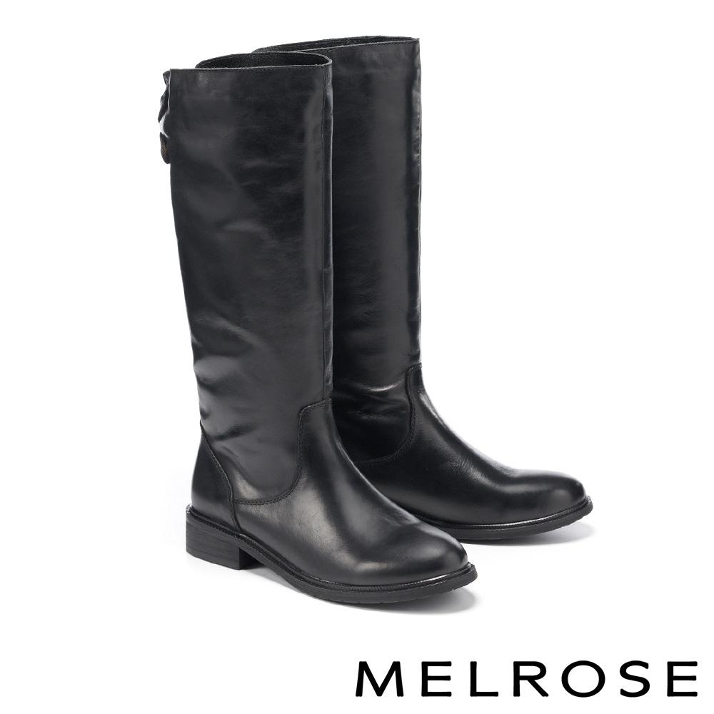 長靴 MELROSE 經典復古時尚牛皮低跟長靴-黑