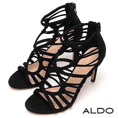 ALDO 原色幾何麻花編織鏤空繫帶高跟涼鞋~尊爵黑色