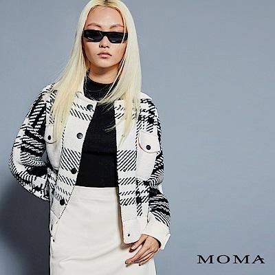 MOMA 雙口袋格紋緹花針織外套