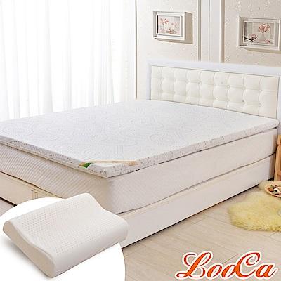 (福氣超值組)LooCa 德國銀離子抗菌5cm七段式乳膠床墊-單大3.5尺