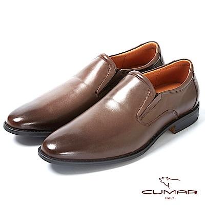 CUMAR 舒適真皮 俐落簡約正式皮鞋-咖啡