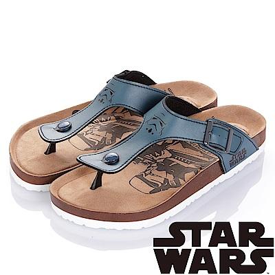 (雙11)StarWars 星際大戰-白兵 減壓腳床型夾腳拖鞋-藍