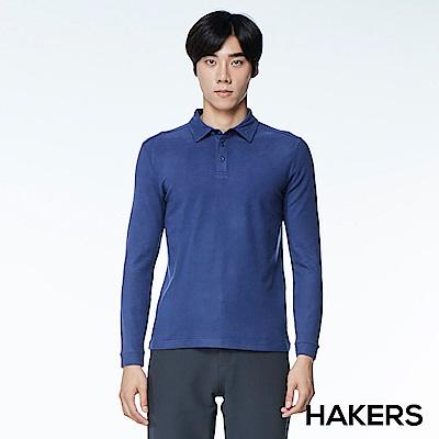 【HAKERS】男款 天絲棉條紋保暖POLO衫(藍紫色)