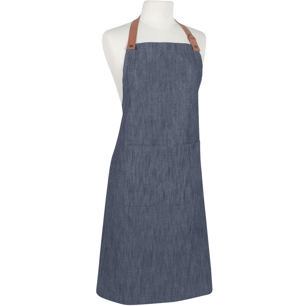《NOW》牛仔風平口單袋環保圍裙(單寧藍)