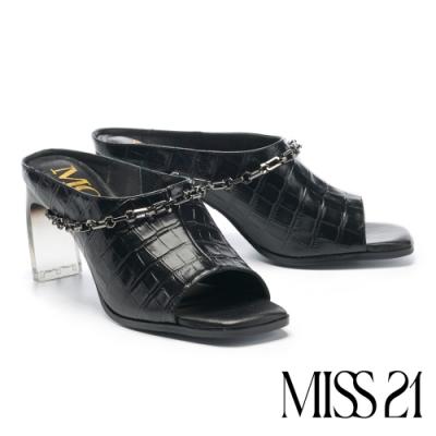 拖鞋 MODA Luxury 復古時尚鱷魚紋真皮高跟拖鞋-黑