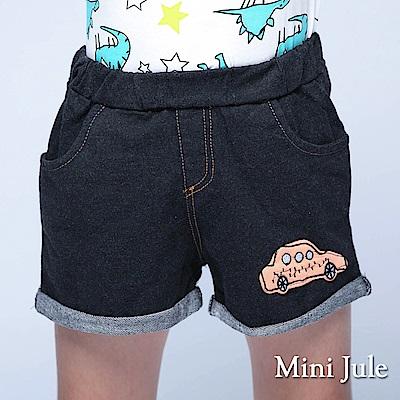 Mini Jule 童裝 短褲 汽車貼布鬆緊反摺短褲(黑)