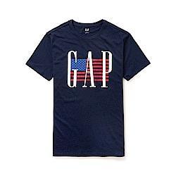 GAP 熱銷經典美國國旗文字短袖T恤-深藍色