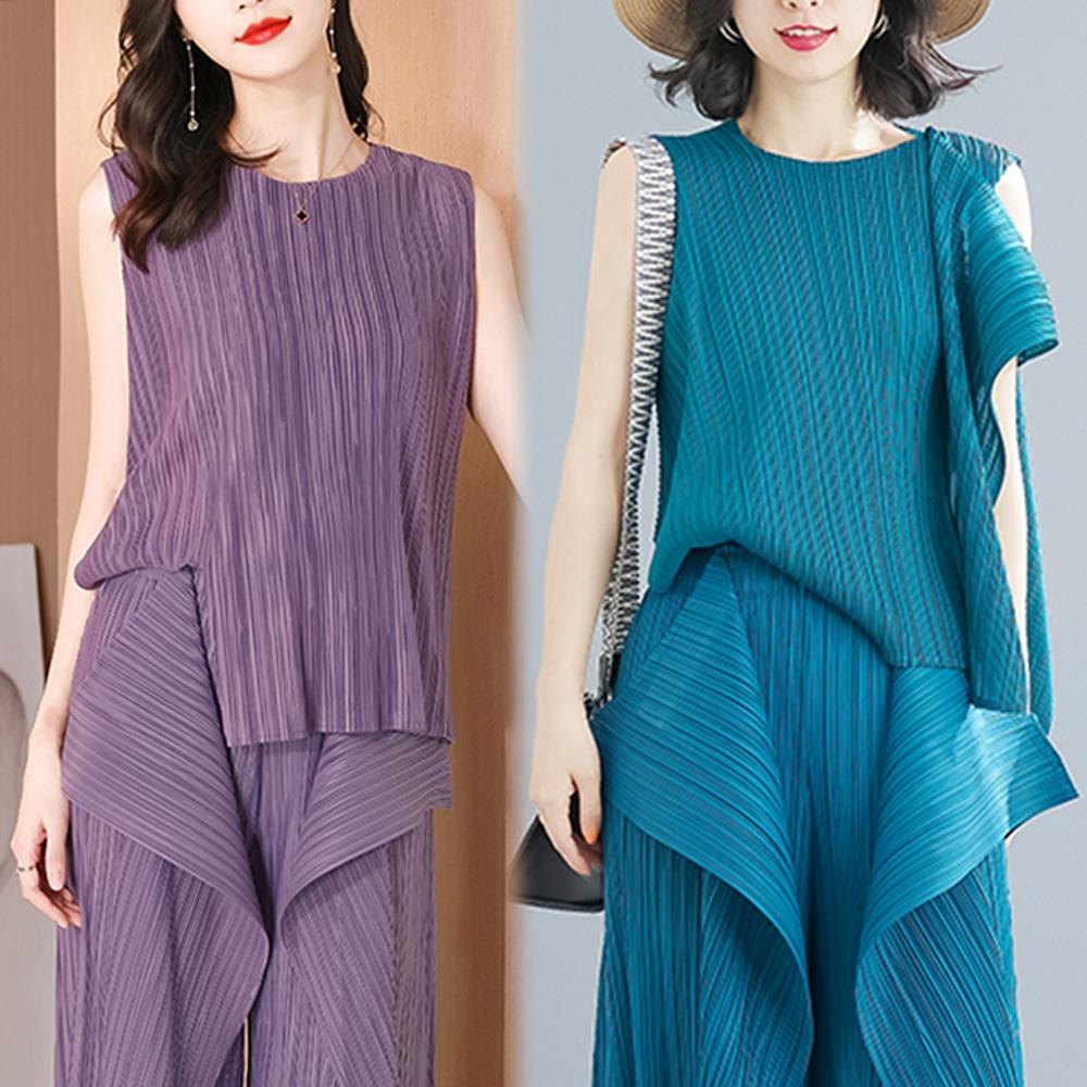 [KEITH-WILL]-(預購)修身特色兩種穿法三宅風壓摺上衣 (紫)