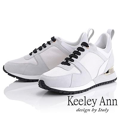 Keeley Ann 時尚潮流~運動韓風拼接增高休閒鞋(白色-Ann)