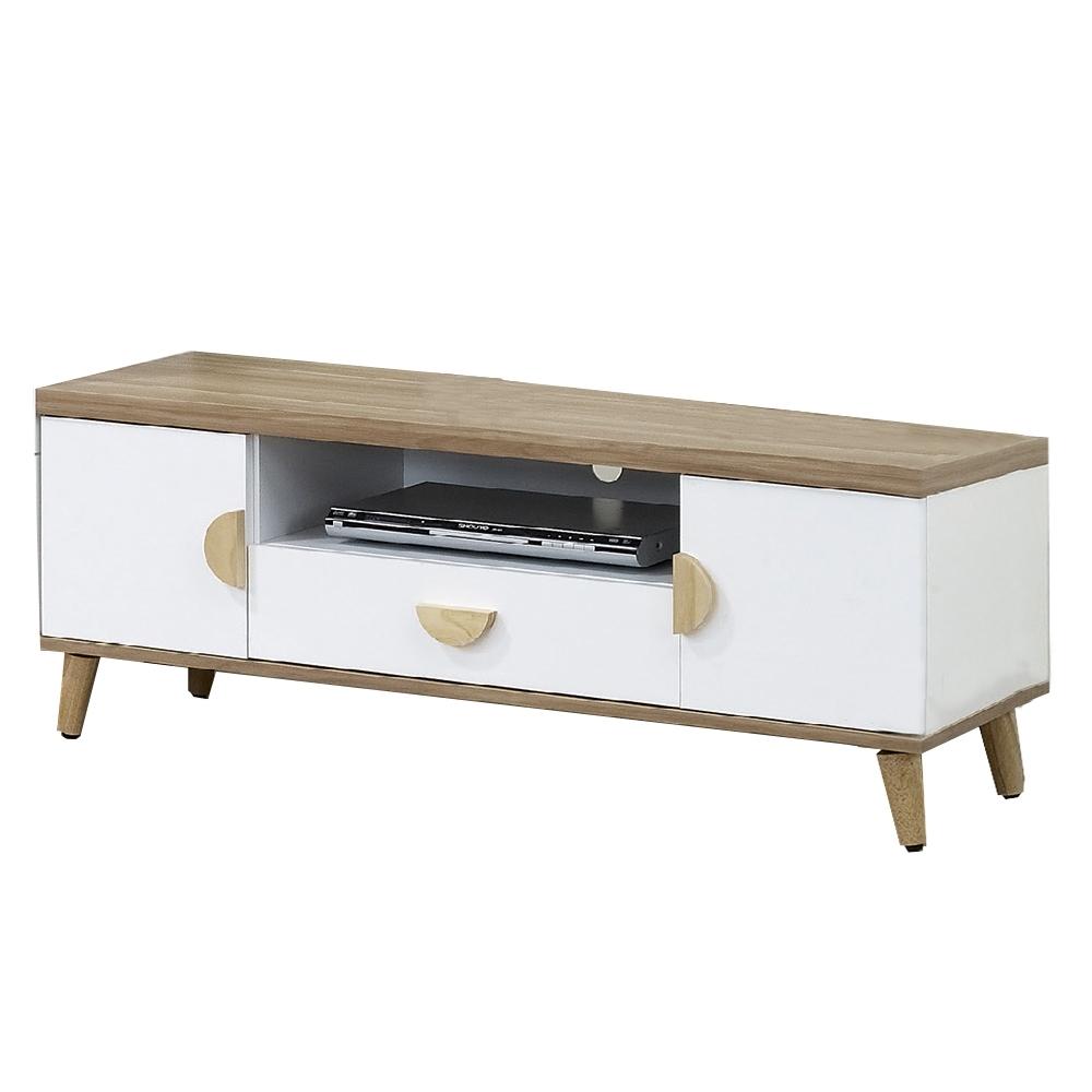 【AT HOME】北歐簡約4尺雙色電視櫃/長櫃/客廳櫃(愛琴海)