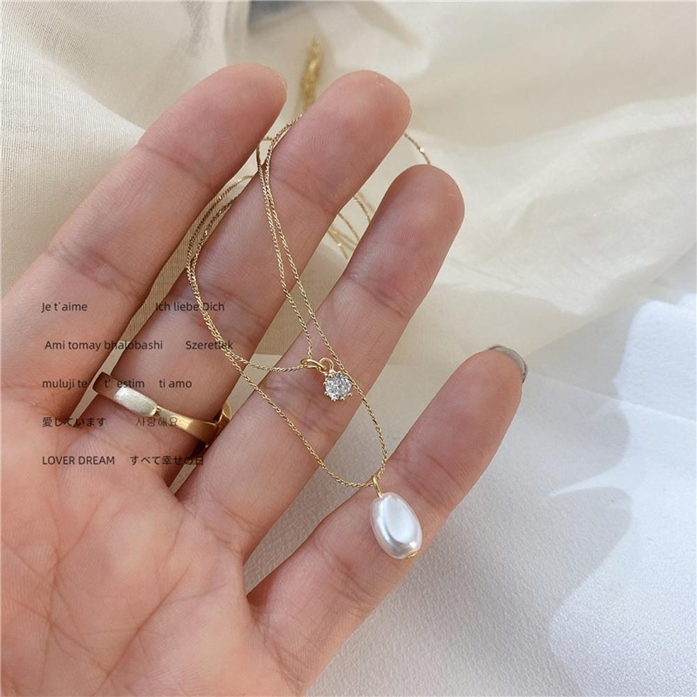 梨花HaNA  新款法式天然珍珠美鑽吊綴.雙層鎖骨鍊