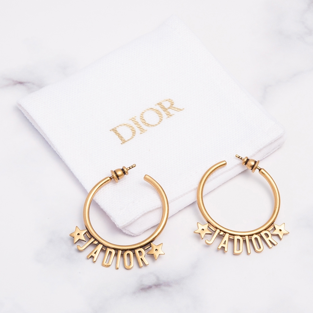 DIOR J'Adior鍍金復古圓型J'ADIOR字母金屬耳環