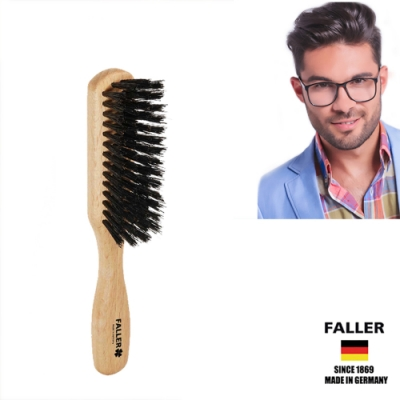 德國FALLER芙樂梳具刷具 德國製原色櫸木黑豚鬃隨身美髮梳 (一入)