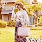 KINAZ 幸福序曲多用斜背托特包-玫瑰粉-綠色莊園系列