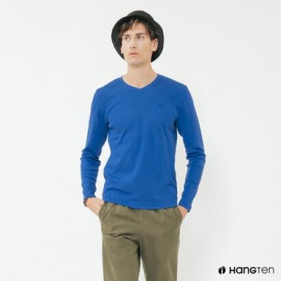 Hang Ten - 男裝 - 簡約素面小圖樣棉質圓領上衣 - 藍