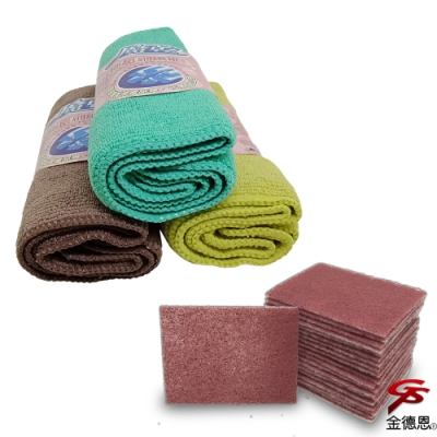 金德恩 台灣製造 正開纖纖維強效吸水萬用擦拭布1包6入/隨機色+去鏽去焦擦拭布