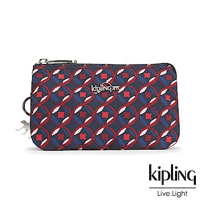 Kipling 零錢包 紅藍幾何印花-小