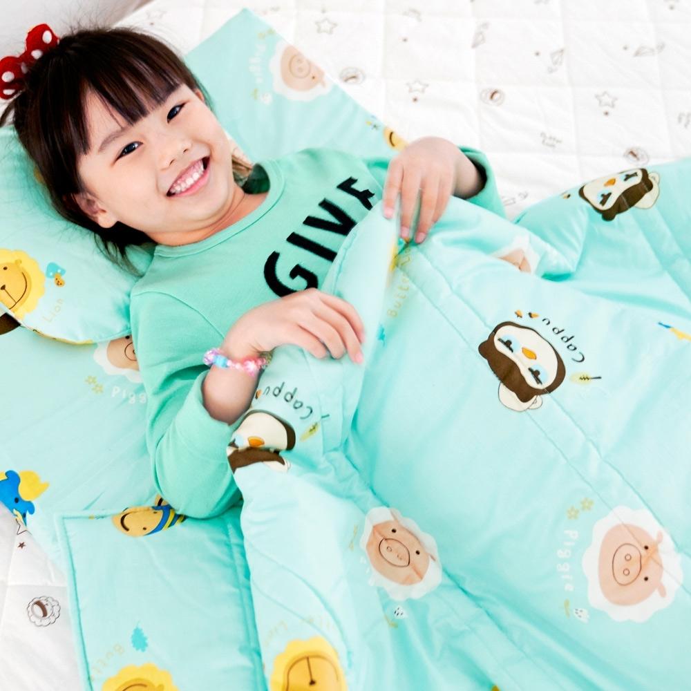 奶油獅-同樂會系列-台灣製造100%精梳純棉兒童涼被/夏被(湖水藍)4x5尺