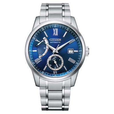 CITIZEN Mechanical 正能量動力儲存機械紳士腕錶-銀X藍-NB3001-61M-40.5mm